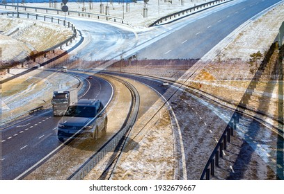 Abstract, blurred higway picture. S5 expressway, highway after snowfall, vehicles lifting water droplets into the air. Early spring. Gniezno, Poland.