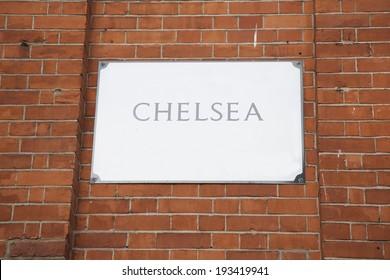 Ulični znak Chelsea; London; Engleska; UK