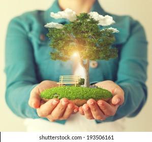Pequeña isla fantástica con un árbol en manos de mujeres.
