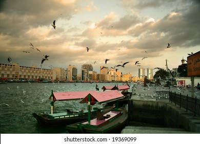 A flock of seagulls in low flight above taxi boat stand with dramatic sky in the background