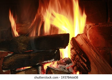 campfire in country house in winter