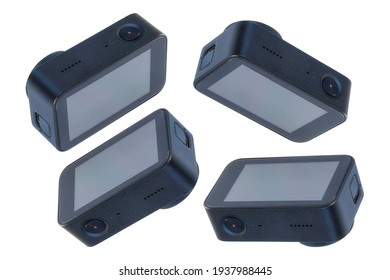 Set van compacte actiecamera's met verschillende hoeken geïsoleerd op een witte achtergrond voor het maken van foto's en video's