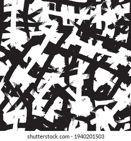 Black and white grunge background seamless. Abstract repeating monochrome texture. Vector chaotic pattern