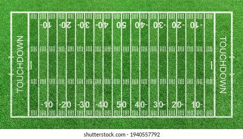 Amerikaans voetbalveld, streepgras met witte patroonlijnen. Bovenaanzicht