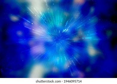 Reisen durch Sternfelder im Galaxienraum als buntes Supernova-Licht, das glüht. Raumnebel blauer Hintergrund, der Bewegungsgrafik mit Sternraumrotationsnebel bewegt
