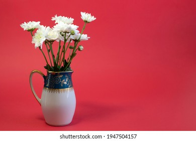 Fresh white flowers in green milk jug on bright red background close up front view