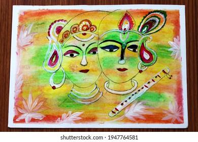 インドの神ラダクリシュナホーリー祭抽象絵画アート、インドの芸術の背景、選択的な焦点