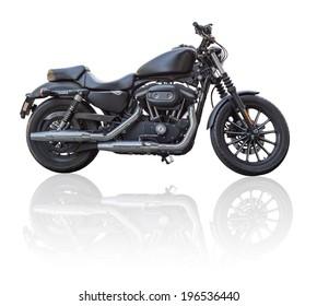 Schwarzes Motorrad isoliert