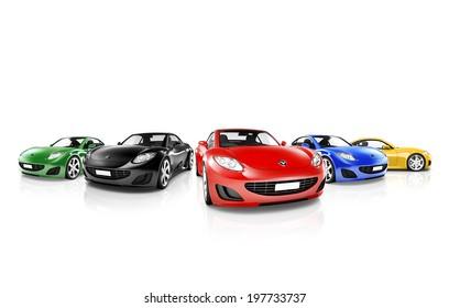 Gruppe mehrfarbiger moderner Autos