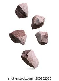 Granitsteine fallen, Felsen gesetzt lokalisiert auf weißem Hintergrund