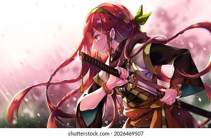 Japanese Girl Anime WarriorGuerrier japonais deaushka. Samouraï du Japon. Images animées
