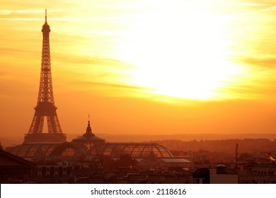 paris sunset eiffel tower panoramic cityscape with vibrant colors
