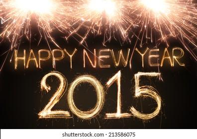 Frohes neues Jahr 2015 mit funkelnden Zahlen geschrieben