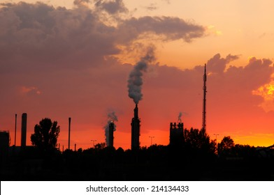 industrial area at sunset