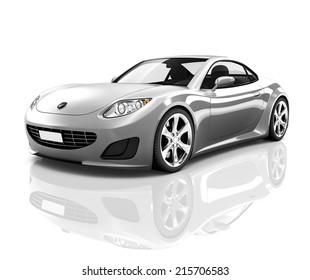 Luxury Silver 3D Sports Car