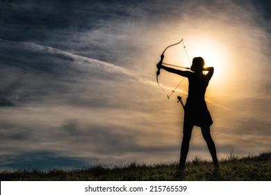オリンパスの弓を持つ少女