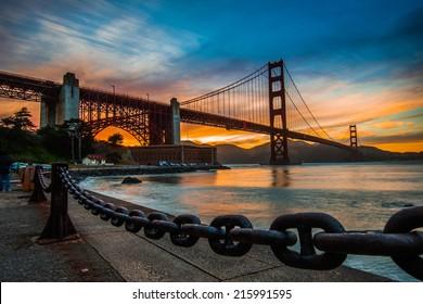 burning sky over Golden gate Bridge