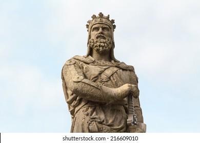 Robert der Bruce, König von Schottland; Steinstatue vor Stirling Castle. Schottland