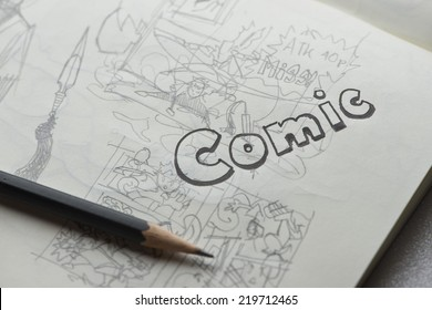 Comic word in artistic typography book , selective focus