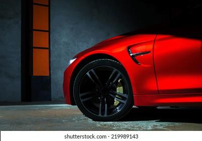Luxe rode auto details bekijken, elegant en mooi