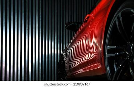 Luxus rote Auto Detailansicht, elegant und schön