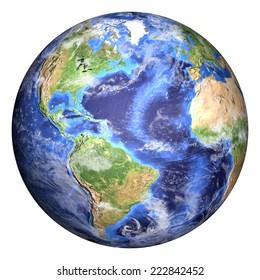 いくつかの雲と地球。アメリカビュー。画像の要素(クラウドマップ、ワールドマップなど)はNASAによって提供され、バンプが追加された球がPhotoshop CS6 Extendedで作成されます。