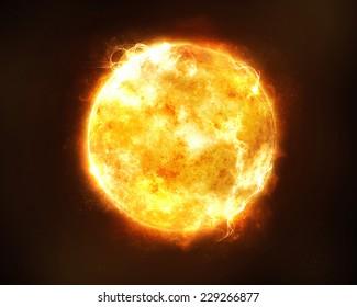 黒い空間の背景に明るく熱いオレンジ色の太陽