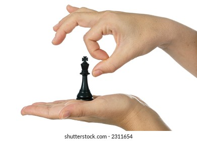 a photo of a chess piece being assassinated