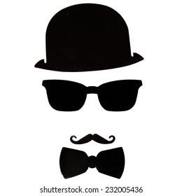 エルキュール・ポアロの影の画像(口ひげ、帽子、蝶ネクタイ、メガネ)