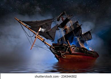 Modelo de barco pirata con niebla y agua