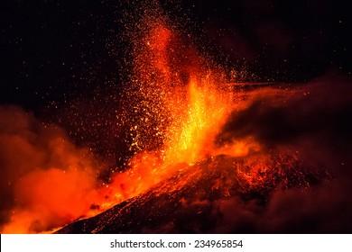 エトナ山は、継続的な噴火中に溶岩と灰の噴水を生み出します。