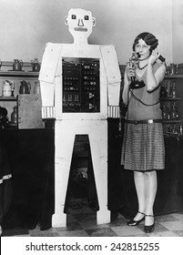 Mr. Televox, was designed by Westinghouse to promote an early remote control switching device, the Televox. The robot was actually a cardboard cutout placed in front of the Televox box.