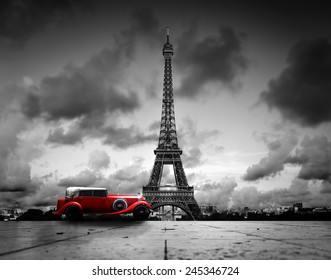 Artistiek beeld van Effel Tower, Parijs, Frankrijk en rode retro auto. Zwart en wit, vintage.