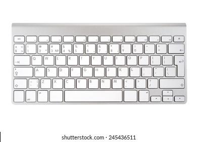 白い背景で隔離のアルミニウムコンピューターキーボード