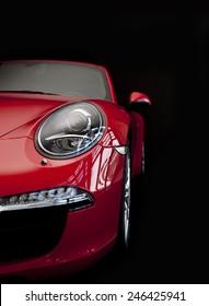 赤いスポーツカーのクローズアップ、赤いスポーツカー