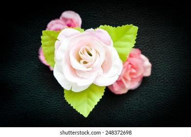 rosa textil rosa sobre fondo negro