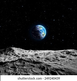 Views of Earth from the moon surface - Usa map furnished by NASA