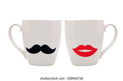 Cup with mustache and lips isolated on white background