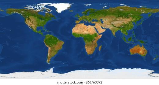 Abbildung der physischen Weltkarte in XXL-Größe. Primärquelle, Elemente dieses von der NASA bereitgestellten Bildes.