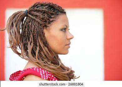 白赤の背景にプロファイルのエキゾチックな髪型を持つ少女の肖像画