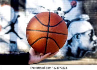 Textur eines Basketballballs