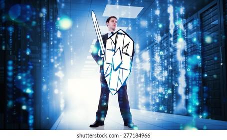 Guerrero corporativo contra la matriz que cae en el centro de datos