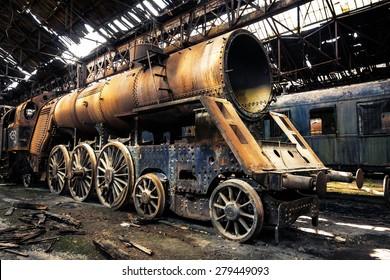 放棄された列車基地のいくつかの列車