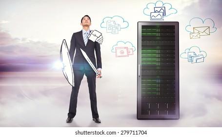 Guerrero corporativo contra la imagen compuesta del doodle de computación en la nube