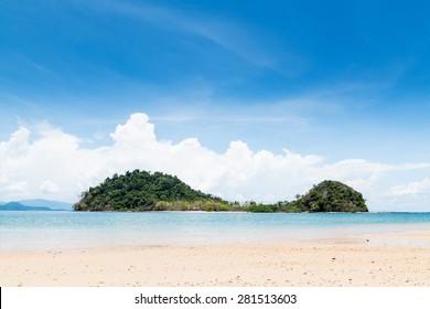 Deserted natural island scene. Koh Kham Ranong Thailand