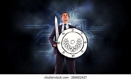 Gráfico de guerrero corporativo contra placa de circuito