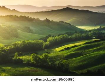 Beautifully illuminated landscape of Tuscany