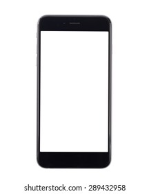 Handy auf weißem Hintergrund, isoliert, Nahaufnahme