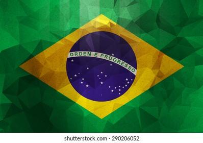 ブラジルグランジフラグ。ヴィンテージ、レトロなスタイル。低ポリゴンテクスチャ。