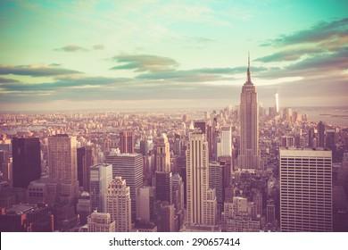 New York City, Manhattan with vintage tone filter